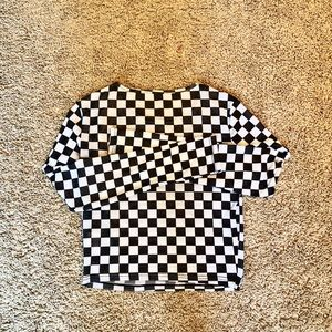 White black checkered long sleeve top